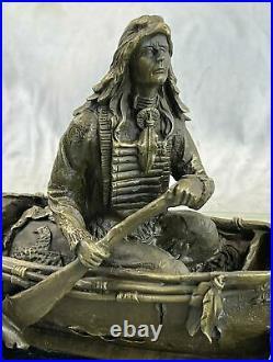 New Big Sky Carvers Bronze Sculpture Original Milo Canoe Trip Bear Bears Artwork