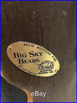ORIGINAL 15 WOOD Western Pine BIG SKY BEARS CARVED JEFF Fleming