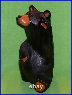 Original BIG SKY BEARS by Jeff Fleming' WAVING BIG MIKEY BEAR' carved wood 13