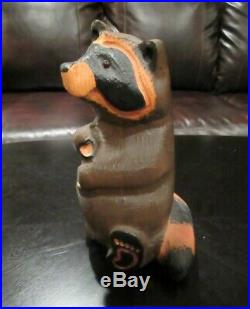 RARE Retired BIG SKY CARVERS HAND CARVED WOOD EMILY RACOON RACCOON Cabin Decor