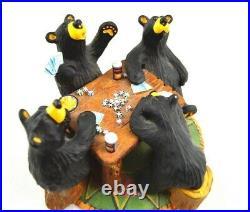 Rare BEARFOOTS Card Sharks Jeff Fleming Big Sky Carvers Bear Poker Figurine
