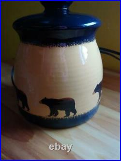 Rare Big Sky Carvers Brushwerks Black Bear Stoneware Canister Type Lamp