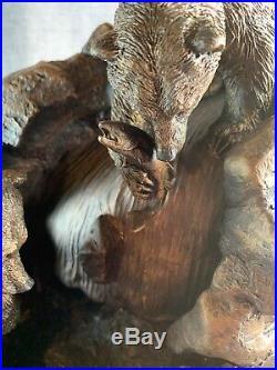 Rare Big Sky Carvers Fisherman Falls Waterfall Fountain Bears Sculpture