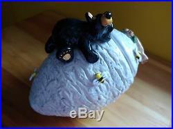 Rare Big Sky Carvers Jeff Fleming Bearfoots Beehive Black Bear Bee Cookie Jar