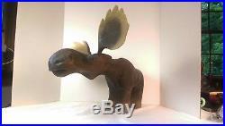 Rare Big Sky Carvers Wooden Moose Sculpture Carved Montana Jeff Fleming Art