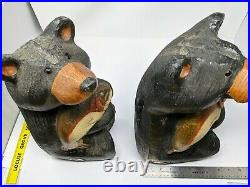 Retired 2 Vintage Big Sky Carver Wood Bear fish bears 16 big bears set match