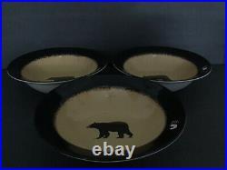 Set Of 3 Brushwerks Bear By Big Sky Carvers Large Rim Soup/Pasta Bowl 9 1/4
