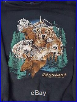 VINTAGE 1997 Montana wild west Sweatshirt Moose Bear wolf wildlife Big Sky sz XL