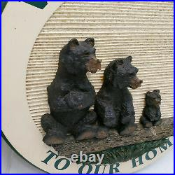 VINTGE Big Sky Carvers Sign Family Bear 3D Plaque Signed Welcome To Our Home 17