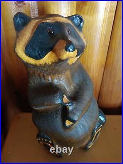 Vintage 1996 Big Sky Carvers Emily Raccoon Pine Wood Carved Sculpture