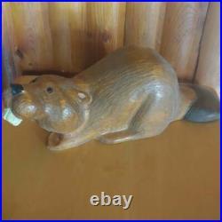 Vintage 1996 Big Sky Carvers Jeff Fleming Pine Wood Carved Beaver Sculpture