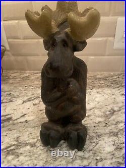 Vintage 1996 Big Sky Carvers Molly Moose Pine Wood Carved Statue