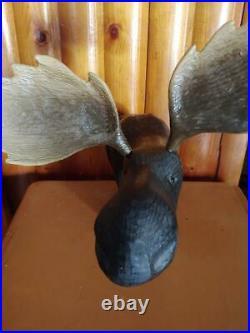 Vintage 1996 Big Sky Carvers Pine Wood Carved Morton Moose Statue Sculpture
