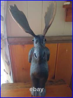 Vintage 1996 Big Sky Carvers Wood Pine Carved Melvin Moose Antlers Sculpture
