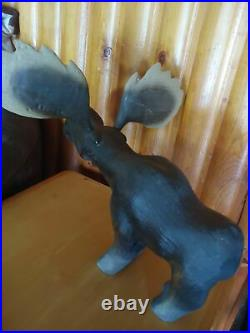 Vintage 1996 Big Sky Carvers Wood Pine Carved Morton Moose Antlers Sculpture