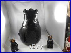 Vintage Big Sky Carvers Bearfoots Jeff Fleming Bear Cookie Jar & SALT /PEPPE