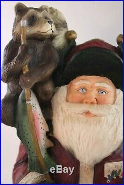 Vintage Big Sky Carvers Santa Fishing Buddies Stuart Bond A0234 Christmas Cabin