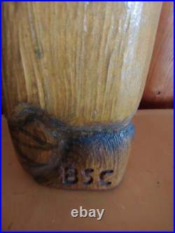 Vintage Big Sky Carvers Wood Pine Carved Beaver with Stick Sculpture