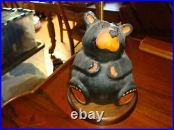 Vintage Big Sky Cavers Wood Bear Table Lamp Great condition