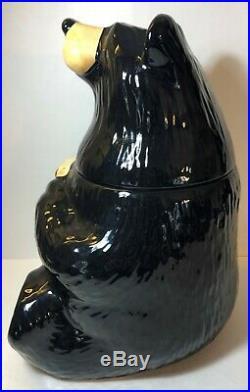 Vintage Black Bear Cookie Jar, Singing Tree Farms Big Sky Carvers BearFoots