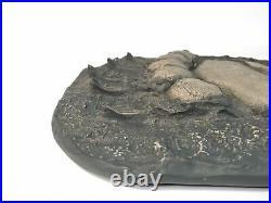 Vtg Grizzly Bear Track Mold Casting Plaque Life Size Big Sky Carvers Montanna